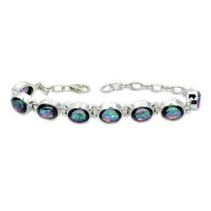 Shop Topaz Bracelets! Dazzling Mystic Topaz Bracelet in Sterling Silver AE66 The Silver Plaza | Natural genuine Topaz bracelets. Buy crystal jewelry, handmade handcrafted artisan jewelry for women.  Unique handmade gift ideas. #jewelry #beadedbracelets #beadedjewelry #gift #shopping #handmadejewelry #fashion #style #product #bracelets #affiliate #ad