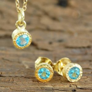 Shop Topaz Necklaces! Blue Topaz November Birthstone Jewelry Set, Blue Topaz Necklace, Blue Topaz Stud Earrings, Sterling Silver Stud Earrings, Anniversary Gift | Natural genuine Topaz necklaces. Buy crystal jewelry, handmade handcrafted artisan jewelry for women.  Unique handmade gift ideas. #jewelry #beadednecklaces #beadedjewelry #gift #shopping #handmadejewelry #fashion #style #product #necklaces #affiliate #ad