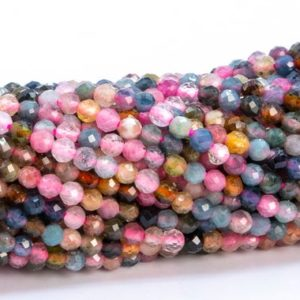 """Shop Tourmaline Faceted Beads! 2.5x2MM Multicolor Tourmaline Beads Grade AAA Genuine Natural Gemstone Faceted Rondelle Loose Beads 15.5"""" Bulk Lot Options (102721-595) 