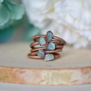 Blue Tourmaline Ring, Raw Stone Jewelry, Electroformed Ring, Gift For Her, Stacking Ring, Tourmaline Jewelry, Birthstone Jewelry, Boho Bride | Natural genuine Gemstone rings, simple unique handcrafted gemstone rings. #rings #jewelry #shopping #gift #handmade #fashion #style #affiliate #ad