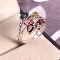 Natural Tourmaline Ring, Statement Ring, Twig Ring, Art Deco Ring, 925 Sterling Silver, Multi Color Gemstone, Boho Bohemian Ring, Gift Her | Natural genuine Gemstone jewelry. Buy crystal jewelry, handmade handcrafted artisan jewelry for women.  Unique handmade gift ideas. #jewelry #beadedjewelry #beadedjewelry #gift #shopping #handmadejewelry #fashion #style #product #jewelry #affiliate #ad