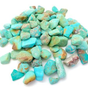 """Shop Turquoise Stones & Crystals! Rough Turquoise Stone (0.3"""" – 1"""") – Grade A – Blue Green Turquoise Kingman Arizonia – Turquoise Crystal – Natural Turquoise Stone 