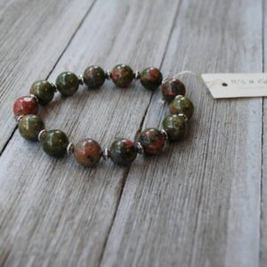 Shop Unakite Bracelets! Natural Unakite Jasper Bracelet with Silver Accents – Colourful Smooth Polished Unakite – Beaded Elastic Bracelet – Semi Precious Stone   Natural genuine Unakite bracelets. Buy crystal jewelry, handmade handcrafted artisan jewelry for women.  Unique handmade gift ideas. #jewelry #beadedbracelets #beadedjewelry #gift #shopping #handmadejewelry #fashion #style #product #bracelets #affiliate #ad
