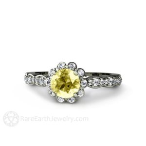 Lemon Yellow Sapphire Engagement Ring with Diamond Halo 14K Gold Sapphire Ring Bridal Jewelry | Natural genuine Array rings, simple unique alternative gemstone engagement rings. #rings #jewelry #bridal #wedding #jewelryaccessories #engagementrings #weddingideas #affiliate #ad