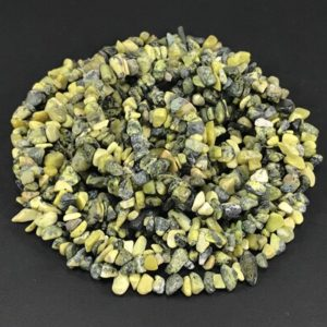 Shop Serpentine Chip & Nugget Beads! Yellow Turquoise Gemstone Chips, 34 Inch Strand, Small to Large Serpentine and Quartz Green Stone Beads | Natural genuine chip Serpentine beads for beading and jewelry making.  #jewelry #beads #beadedjewelry #diyjewelry #jewelrymaking #beadstore #beading #affiliate #ad