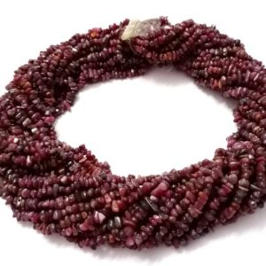 """Shop Ruby Chip & Nugget Beads! 1-5 Strands Lot Natural Ruby Chips Nuggets Smooth 3-5mm/5-7mm Gemstone Loose Beads 34""""inch Ruby Chip Beads, Ruby Beads, Red Ruby 
