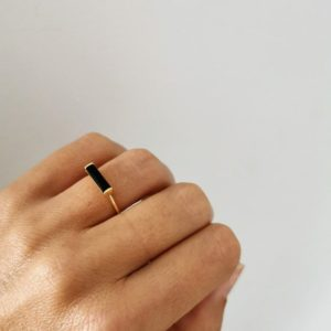 925 sterling silver rectangle black tourmaline Ring, black tourmaline ring, natural stone ring, minimalist ring, cylindrical ring | Natural genuine Black Tourmaline rings, simple unique handcrafted gemstone rings. #rings #jewelry #shopping #gift #handmade #fashion #style #affiliate #ad