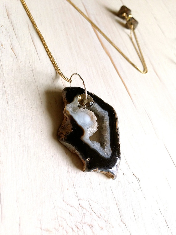 Druzy Necklace In Gold Filled, Agate Necklace, Geode Necklace, Druzy Necklace