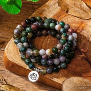 Indian Agate 108 Beads Mala Prayer Necklace-Healing Stone Necklace-Spiritual Protection Inspirational Balance Grounding Anti Anxiety Gift | Natural genuine Agate necklaces. Buy crystal jewelry, handmade handcrafted artisan jewelry for women.  Unique handmade gift ideas. #jewelry #beadednecklaces #beadedjewelry #gift #shopping #handmadejewelry #fashion #style #product #necklaces #affiliate #ad