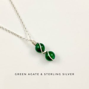 Shop Agate Necklaces! May birthstone, Emerald Green Agate Necklace with Sterling Silver   Natural genuine Agate necklaces. Buy crystal jewelry, handmade handcrafted artisan jewelry for women.  Unique handmade gift ideas. #jewelry #beadednecklaces #beadedjewelry #gift #shopping #handmadejewelry #fashion #style #product #necklaces #affiliate #ad