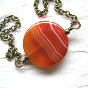 Shop Agate Necklaces! Orange Agate Necklace, Agate Stone Necklace, Handmade Jewelry, Made in the USA, Gemstone Necklace, Stone Jewelry, Agate Jewelry   Natural genuine Agate necklaces. Buy crystal jewelry, handmade handcrafted artisan jewelry for women.  Unique handmade gift ideas. #jewelry #beadednecklaces #beadedjewelry #gift #shopping #handmadejewelry #fashion #style #product #necklaces #affiliate #ad