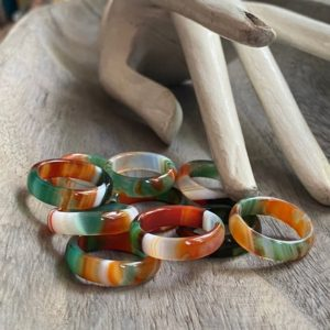 Shop Agate Rings! Carved Stone Ring, Fancy Agate Ring, Agate Stone Ring, Multi Color Agate Band Ring,Solid Stone Band, Natural Stone Ring, Solid Gemstone Ring   Natural genuine Agate rings, simple unique handcrafted gemstone rings. #rings #jewelry #shopping #gift #handmade #fashion #style #affiliate #ad