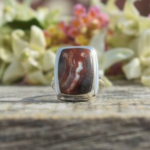 Shop Agate Rings! Crazy Lace Agate Ring, Cushion Gemstone, Red Color Stone, Natural Gemstone, Silver Band Ring, Made For Her, Simple Handmade Ring, Gift   Natural genuine Agate rings, simple unique handcrafted gemstone rings. #rings #jewelry #shopping #gift #handmade #fashion #style #affiliate #ad
