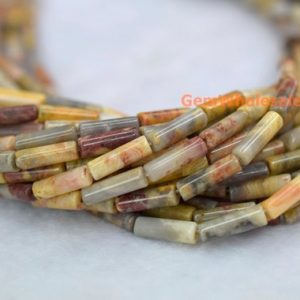 """Shop Agate Round Beads! 15.5"""" 4x13mm Crazy Agate Round Tubes, Yellow Gemstone Tube, Semi-precious Stone Cylinder, natural Yellow Diy Cylinder 