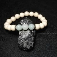 Real Diamond, Pave Diamond Bracelet, 8mm Amazonite And Natural Fossil Stone Bracelet, Sterling Silver, Stretch Bracelet,  Jewelry Women | Natural genuine Gemstone jewelry. Buy crystal jewelry, handmade handcrafted artisan jewelry for women.  Unique handmade gift ideas. #jewelry #beadedjewelry #beadedjewelry #gift #shopping #handmadejewelry #fashion #style #product #jewelry #affiliate #ad