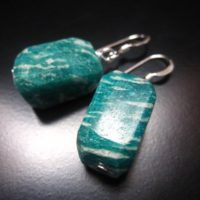 Russian Amazonite Earrings, Russian Amazonite Nuggets And Sterling Silver, Russian Amazonite Jewelry, Nugget Dangle Earrings, Green Earrings | Natural genuine Gemstone jewelry. Buy crystal jewelry, handmade handcrafted artisan jewelry for women.  Unique handmade gift ideas. #jewelry #beadedjewelry #beadedjewelry #gift #shopping #handmadejewelry #fashion #style #product #jewelry #affiliate #ad