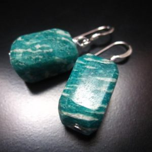 Shop Amazonite Earrings! Russian Amazonite Earrings, Russian Amazonite Nuggets and Sterling Silver, Russian Amazonite Jewelry, Nugget Dangle Earrings, Green Earrings | Natural genuine Amazonite earrings. Buy crystal jewelry, handmade handcrafted artisan jewelry for women.  Unique handmade gift ideas. #jewelry #beadedearrings #beadedjewelry #gift #shopping #handmadejewelry #fashion #style #product #earrings #affiliate #ad