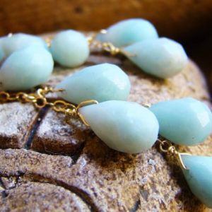Sale Earrings sky Blue Amazonite.  Natural gemstone Cascade earrings. Gold silver or rose gold | Natural genuine Amazonite earrings. Buy crystal jewelry, handmade handcrafted artisan jewelry for women.  Unique handmade gift ideas. #jewelry #beadedearrings #beadedjewelry #gift #shopping #handmadejewelry #fashion #style #product #earrings #affiliate #ad