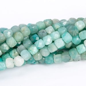 """Shop Amazonite Faceted Beads! 4MM Mint Green Amazonite Beads Faceted Cube Grade AA Genuine Natural Gemstone Loose Beads 15""""/7.5"""" Bulk Lot Options (113041)   Natural genuine faceted Amazonite beads for beading and jewelry making.  #jewelry #beads #beadedjewelry #diyjewelry #jewelrymaking #beadstore #beading #affiliate #ad"""
