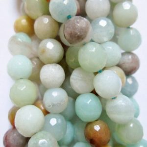 """Shop Amazonite Faceted Beads! Genuine Amazonite faceted Beads – Round 6 mm Gemstone Beads – Full Strand 15"""", 59 beads, A Quality   Natural genuine faceted Amazonite beads for beading and jewelry making.  #jewelry #beads #beadedjewelry #diyjewelry #jewelrymaking #beadstore #beading #affiliate #ad"""