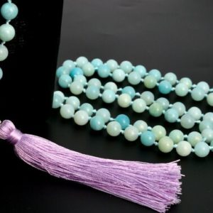 """Shop Amazonite Necklaces! 8MM Amazonite Mala Beads 108 Pcs Grade A Necklace 41"""" Genuine Natural Round Gemstone with Tassel BULK LOT 1,3,5,10,50 (106818-083) 