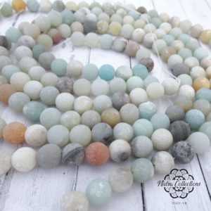 Shop Amazonite Necklaces! Multicoloured Frosted Amazonite Gemstone Beads, Round Loose Stones Center Drilled Hole, Matte Mala Beads, Full Strand 8mm & 6mm | Natural genuine Amazonite necklaces. Buy crystal jewelry, handmade handcrafted artisan jewelry for women.  Unique handmade gift ideas. #jewelry #beadednecklaces #beadedjewelry #gift #shopping #handmadejewelry #fashion #style #product #necklaces #affiliate #ad