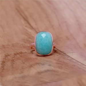 Shop Amazonite Rings! Amazonite Ring, Gorgeous Natural Amazonite Gemstone Ring, 925 Sterling Silver Ring, Anxiety Ring, Rose Gold Ring, Handmade Ring For Love | Natural genuine Amazonite rings, simple unique handcrafted gemstone rings. #rings #jewelry #shopping #gift #handmade #fashion #style #affiliate #ad