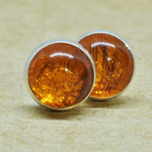 Amber Earrings, Natural Amber Jewelry Studs, 6mm Sterling Silver Accessories | Natural genuine Amber earrings. Buy crystal jewelry, handmade handcrafted artisan jewelry for women.  Unique handmade gift ideas. #jewelry #beadedearrings #beadedjewelry #gift #shopping #handmadejewelry #fashion #style #product #earrings #affiliate #ad
