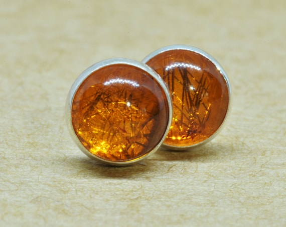 Amber Earrings, Natural Amber Jewelry Studs, 6mm Sterling Silver Accessories