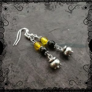 Shop Jet Earrings! Amber & Lignite Jet Cauldron dangle earrings, witchcraft, pagan, Wiccan | Natural genuine Jet earrings. Buy crystal jewelry, handmade handcrafted artisan jewelry for women.  Unique handmade gift ideas. #jewelry #beadedearrings #beadedjewelry #gift #shopping #handmadejewelry #fashion #style #product #earrings #affiliate #ad