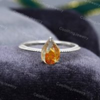 Pear Shaped Amber Engagement Ring White Gold Vintage Engagement Ring Antique Art Deco Bridal Ring Anniversary Gift For Women | Natural genuine Gemstone jewelry. Buy handcrafted artisan wedding jewelry.  Unique handmade bridal jewelry gift ideas. #jewelry #beadedjewelry #gift #crystaljewelry #shopping #handmadejewelry #wedding #bridal #jewelry #affiliate #ad