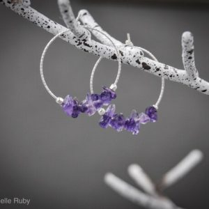 Shop Amethyst Earrings! Anxiety Relief Amethyst Small Hoop Earrings Aquarius February Birthstone Anxiety Jewelry | Natural genuine Amethyst earrings. Buy crystal jewelry, handmade handcrafted artisan jewelry for women.  Unique handmade gift ideas. #jewelry #beadedearrings #beadedjewelry #gift #shopping #handmadejewelry #fashion #style #product #earrings #affiliate #ad