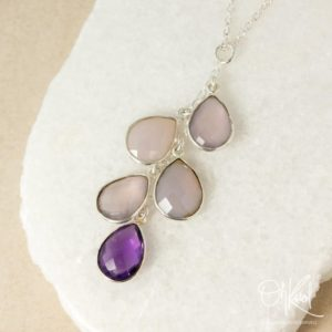 Shop Amethyst Necklaces! Silver Pink Chalcedony & Purple Amethyst Quartz Necklace, Waterfall Necklace, February Birthday, Chalcedony Teardrop | Natural genuine Amethyst necklaces. Buy crystal jewelry, handmade handcrafted artisan jewelry for women.  Unique handmade gift ideas. #jewelry #beadednecklaces #beadedjewelry #gift #shopping #handmadejewelry #fashion #style #product #necklaces #affiliate #ad