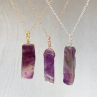 Amethyst Pendant Necklace – Purple Crystal Necklace – Natural Amethyst Necklace – February Birthstone Necklace – Healing Crystal Necklace | Natural genuine Gemstone jewelry. Buy crystal jewelry, handmade handcrafted artisan jewelry for women.  Unique handmade gift ideas. #jewelry #beadedjewelry #beadedjewelry #gift #shopping #handmadejewelry #fashion #style #product #jewelry #affiliate #ad