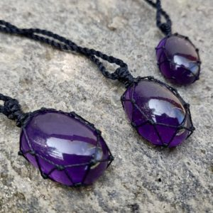 Shop Amethyst Pendants! Purple Amethyst Necklace, Empath Protection Crystal Pendant, Macrame Jewelry, Stress Relief Gift for Men or Women | Natural genuine Amethyst pendants. Buy handcrafted artisan men's jewelry, gifts for men.  Unique handmade mens fashion accessories. #jewelry #beadedpendants #beadedjewelry #shopping #gift #handmadejewelry #pendants #affiliate #ad