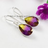 Ametrine Quartz Earrings-bezel Earring-handmade Silver Earring-925 Sterling Silver-teardrop Ametrine Quartz Earrings-gift For Her | Natural genuine Gemstone jewelry. Buy crystal jewelry, handmade handcrafted artisan jewelry for women.  Unique handmade gift ideas. #jewelry #beadedjewelry #beadedjewelry #gift #shopping #handmadejewelry #fashion #style #product #jewelry #affiliate #ad