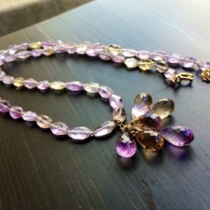 Gold Ametrine Purple Yellow Necklace, Natural Gemstone Jewelry, February Birthstone | Natural genuine Gemstone necklaces. Buy crystal jewelry, handmade handcrafted artisan jewelry for women.  Unique handmade gift ideas. #jewelry #beadednecklaces #beadedjewelry #gift #shopping #handmadejewelry #fashion #style #product #necklaces #affiliate #ad
