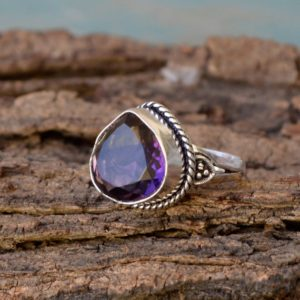 Shop Ametrine Rings! Bi Double Color Ametrine Quartz Ring- 925 Sterling Silver Ring -heart Shape Designer Gift Ring -birthstone Gift Ring- Ametrine Gift Ring | Natural genuine Ametrine rings, simple unique handcrafted gemstone rings. #rings #jewelry #shopping #gift #handmade #fashion #style #affiliate #ad