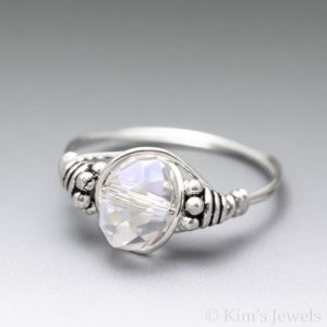 Shop Angel Aura Quartz Jewelry! White Angel Aura Quartz Crystal Faceted Bali Sterling Silver Wire Wrapped Gemstone Bead Ring – Made To Order, Ships Fast! | Natural genuine Angel Aura Quartz jewelry. Buy crystal jewelry, handmade handcrafted artisan jewelry for women.  Unique handmade gift ideas. #jewelry #beadedjewelry #beadedjewelry #gift #shopping #handmadejewelry #fashion #style #product #jewelry #affiliate #ad