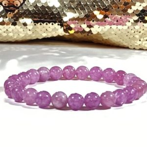 Shop Angelite Bracelets! Natural Purple Rare Angelite 8 mm beaded bracelet restores faith and forgiveness | Natural genuine Angelite bracelets. Buy crystal jewelry, handmade handcrafted artisan jewelry for women.  Unique handmade gift ideas. #jewelry #beadedbracelets #beadedjewelry #gift #shopping #handmadejewelry #fashion #style #product #bracelets #affiliate #ad