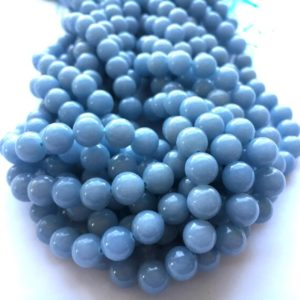 Shop Angelite Beads! Angelite Round Natural Gemstone Bead 4 / 6 / 8 / 10mm 15''l | Natural genuine round Angelite beads for beading and jewelry making.  #jewelry #beads #beadedjewelry #diyjewelry #jewelrymaking #beadstore #beading #affiliate #ad
