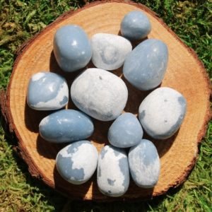 Shop Tumbled Angelite Crystals & Pocket Stones! Angelite in matrix Polished Tumbled   Natural genuine stones & crystals in various shapes & sizes. Buy raw cut, tumbled, or polished gemstones for making jewelry or crystal healing energy vibration raising reiki stones. #crystals #gemstones #crystalhealing #crystalsandgemstones #energyhealing #affiliate #ad