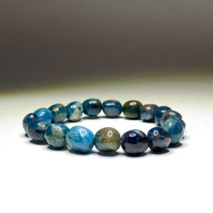 Shop Apatite Bracelets! Blue Apatite Tumbled Bracelet | Natural genuine Apatite bracelets. Buy crystal jewelry, handmade handcrafted artisan jewelry for women.  Unique handmade gift ideas. #jewelry #beadedbracelets #beadedjewelry #gift #shopping #handmadejewelry #fashion #style #product #bracelets #affiliate #ad