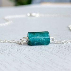 Shop Apatite Necklaces! NATURAL APATITE CHOKER – Healing Crystal Necklace – Raw Blue Apatite Stone Necklace – Sterling Silver Chain – Apatite Jewelry – Gift for Her | Natural genuine Apatite necklaces. Buy crystal jewelry, handmade handcrafted artisan jewelry for women.  Unique handmade gift ideas. #jewelry #beadednecklaces #beadedjewelry #gift #shopping #handmadejewelry #fashion #style #product #necklaces #affiliate #ad