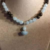 Aquamarine Necklace – Blue And Brown Jewelry – Sterling Silver – Bronzite Gemstone Jewellery – Pendant – Beaded   Natural genuine Gemstone jewelry. Buy crystal jewelry, handmade handcrafted artisan jewelry for women.  Unique handmade gift ideas. #jewelry #beadedjewelry #beadedjewelry #gift #shopping #handmadejewelry #fashion #style #product #jewelry #affiliate #ad