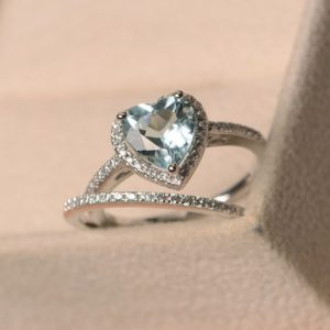 Promise ring, natural aquamarine ring, March birthstone ring, heart cut halo ring, engagement ring with matching band | Natural genuine Array rings, simple unique alternative gemstone engagement rings. #rings #jewelry #bridal #wedding #jewelryaccessories #engagementrings #weddingideas #affiliate #ad