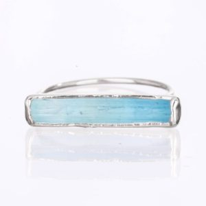 Raw Aquamarine Bar Ring, Sterling Silver Ring, Rings for Women, Gemstone Ring, Statement Ring, Stacking Rings, Horizontal Stone RIng | Natural genuine Aquamarine rings, simple unique handcrafted gemstone rings. #rings #jewelry #shopping #gift #handmade #fashion #style #affiliate #ad