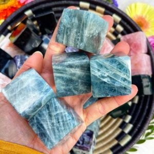 """Shop Aquamarine Shapes! Genuine Aquamarine Hexahedron CUBE  """"Stone of Courage"""" // Soothing, Calming, Balm for the Sensitive Heart, Reduce Stress, Quiet the Mind 