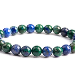 """Shop Azurite Bracelets! 8MM Azurite Beads Bracelet Grade AAA Natural Round Gemstone 7"""" BULK LOT 1,3,5,10 and 50 (106613h-2018) 