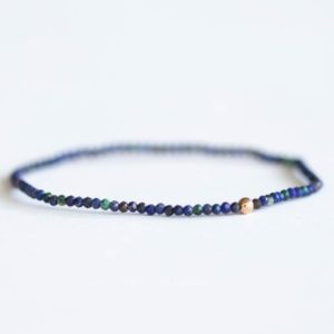 Shop Azurite Bracelets! Skinny Azurite Stretch Bracelet, Ultra Delicate Beaded Dark Blue Gemstone Jewelry, Genuine Small Tiny Faceted Stones | Natural genuine Azurite bracelets. Buy crystal jewelry, handmade handcrafted artisan jewelry for women.  Unique handmade gift ideas. #jewelry #beadedbracelets #beadedjewelry #gift #shopping #handmadejewelry #fashion #style #product #bracelets #affiliate #ad